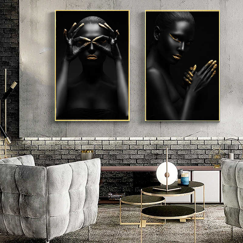 Nordic Style Gold and Black Fashion African Nude Woman Canvas Posters and Prints Scandinavian Wall Art Picture for Living Room