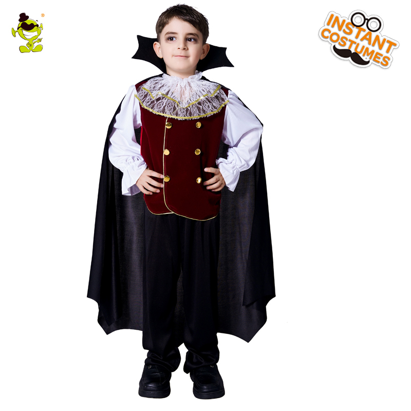 Children Deluxe Vampire Costumes Halloween Carnival Party Noble King &Prince of Bloodsuker Cosplay Suit with cape for Boys
