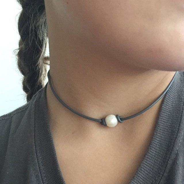 PINJEAS Dainty Pearl Leather Choker Necklace pendants Handmade Simple Fashion Boho Love Stone Colourful Jewelry for women party