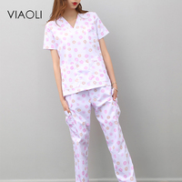 Viaoli women and men Medical Uniforms Nursing Scrubs Clothes Short Sleeve coat Doctor Clothing Brush hand clothing printing