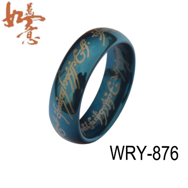Free Shipping 6mm width Blue Lord of the Rings Tungsten Carbide Ring  Wholesales Order are Welcome