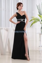 free shipping 2014 new design graduation zuhair murad hot seller sexy pretty maxi dress long Side of the split black prom