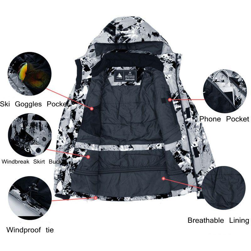 Vectoriel chaud hiver Ski costume ensemble hommes coupe-vent imperméable Ski snowboard costumes ensemble mâle extérieur Ski veste + pantalon marque - 2