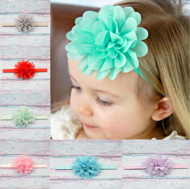 Baby Headband Ribbon DIY Toddler Kid Hair Accessories Newborn tiara chiffon Infant flower floral Turban Girl bandage Handmade leaf print turban headband