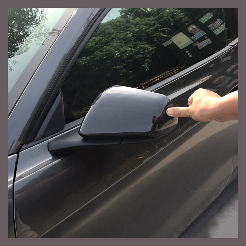 QHCP Car Styling Carbon Fiber Rearview Mirror Cover Shell Side Mirror Frame Encase for Ford Mustang 2015+ Free Shipping airspeed carbon fiber car console frame stickers for ford mustang 2015 2017 car center control panel ac cd covers car styling
