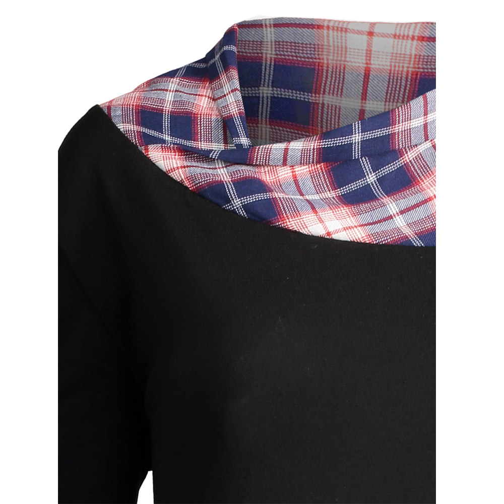 7ce0eac8f8c1 ... VESTLINDA Long Plus Size Lace Plaid Panel Top Tshirt Women 2017 Autumn  Tops Fashion Loose Long ...