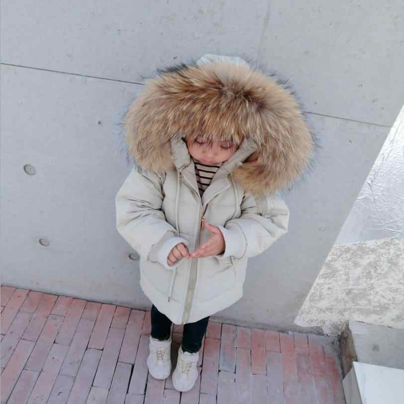 Baby Fahsion real fur collar down cotton coats baby girl and boy solid good quality jackets kids winter new outwear coats ws12