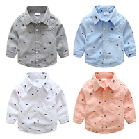 2018 الربيع والخريف ملابس جديدة ماركة تصميم الفتيان القطن أكسفورد طباعة بأكمام طويلة قميص الأطفال الملابس