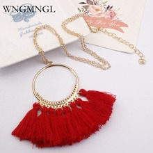 WNGMNGL Brand 2018 New Arrival Fashion Maxi Statement  Charm 15 colors Boho Long Tassel Necklace For Women Gift Free shipping