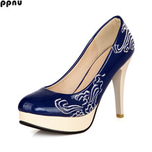 ppnu woman sexy thin high heels pumps womens fashion round toe patent platform shoes women women's flower work female pumps