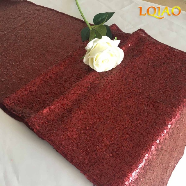 LQIAO 12x72Inch Burgundy/Gold Sequin Table Runner For Wedding Party Bridal  Shower Baby Shower Christmas Wedding Party Decoration