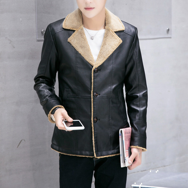2016 Winter New Turn Down Collar Velet Lining Deri Mont Erkek Slim Single Breasted Mens Leather Jackets And Coats