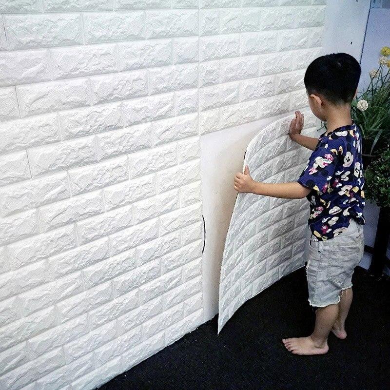 Keythemelife PE Schaum 3D Wandaufkleber Analog Fliesen DIY Tapete Dekor Ziegel Wohnzimmer Kinder Schlafzimmer Aufkleber