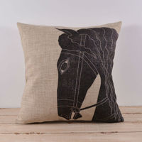 LINKWELL 45x45cm Old Chiese Black Horse Wild Animal Sofa Waist Seat Throw Pillowcase Cotton Linen Car Decorative Cushion Cover