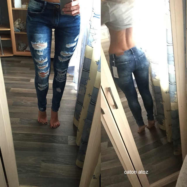 Women's Sexy Ripped Skinny Jeans