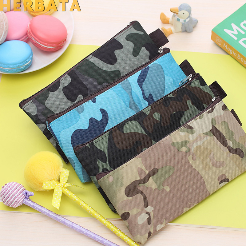 Camouflage Pencil Case Pencil Bag For Boys And Girls School Supplies Cosmetic Makeup Bags Zipper Pouch Purse 4 Colors CL1918