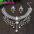 Newest Bohemia Style Silver Australia Crystal Teadrop Pendent Bridal Hair Headpiece Wedding Necklace Earring Set Accessory