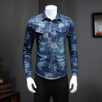 2016 New Men Clothes New Brand Long Sleeve Denim Shirt Men Autumn Casual Slim Fit Floral