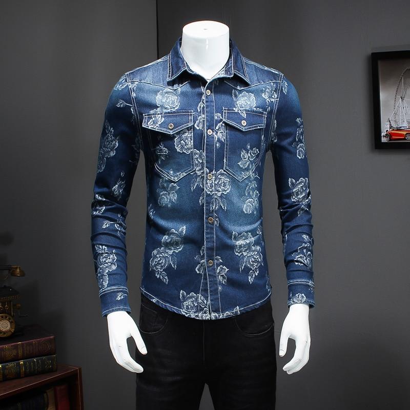 Buy Floral Print Denim Men Shirt Long