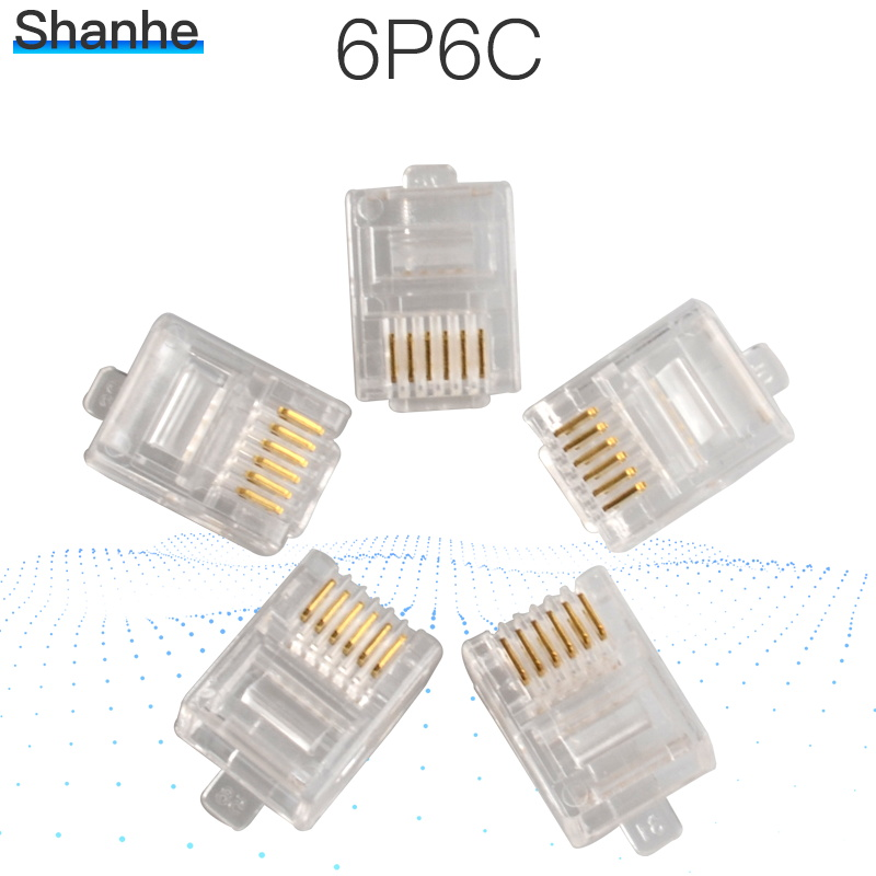 20pcs Durable 6 Pin RJ11 RJ-11 6P6C Modular Plug Telephone Phone Connector And NC Crystal Head