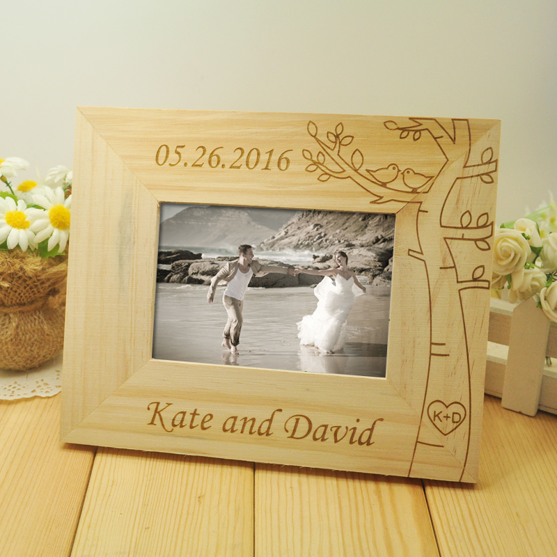 Personalized Wedding photo frame, Wooden Wedding Couple Pictures ...
