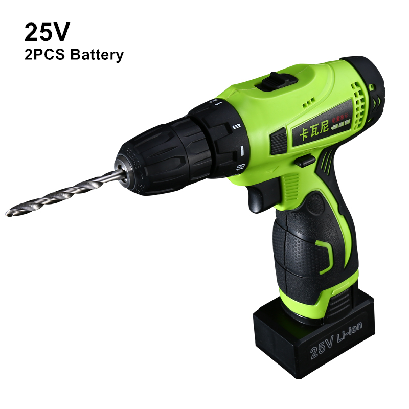 25v Cordless Screwdriver Rechargeable Drill Battery Electric Drill Two Lithium Battery Plus Parts Parafusadeira Furadeira Tools стоимость