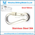 5 Pcs Simple screwage lock Stianless steel 304 Screw Lock Carabiner Snap Hook Clip Camping Hiking Outdoor for 6mm*60mm