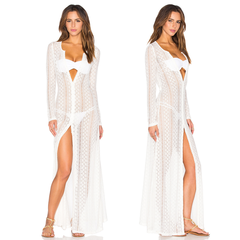 Lace Beach Cover Ups Breathable 2018 Robe Plage Kaftan Dress Solid Color Pareos for Women Swim Tunic Sarong Swimsuit One Size