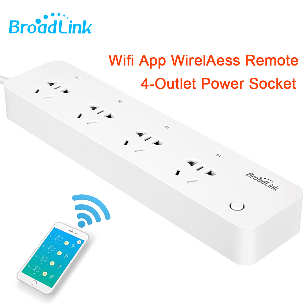 Broadlink MP1 Smart Power Socket Plug Strip Socket Separately Controllable Wifi App Wireless Remote Power for Home Automation broadlink mp1 wifi power strip socket 4 outlet extension socket plug with eu us uk au adapter app remote control for smart home