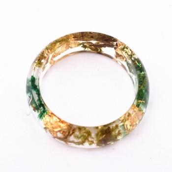Handmade Flowers Wood Resin Ring11