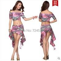 Belly dance costume leopard Peacock top+milk silk short skirt 2pcs/set for belly dancing set