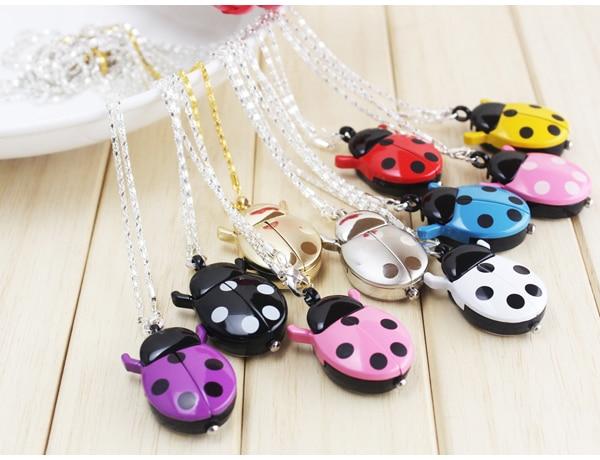 Free Shipping 1pcs 9colors Fashion Ladybug Beetle Quartz Lady Ladies Girls Pocket Necklace Watch Xmas Gift With Key Chain