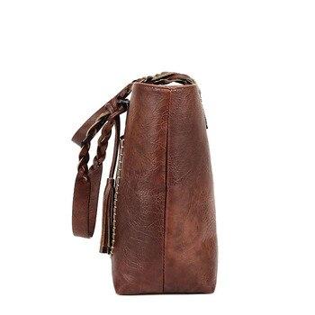 Vintage Handtas Vrouwen Bruin Lederen Schoudertas Dames Retro Tote Grote PU Handtassen bolso 2019 Mode Grote Zwarte Zakken XA540D