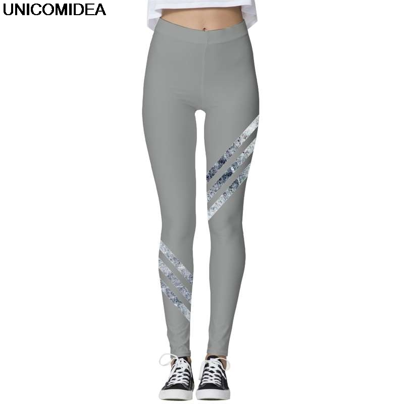 3D Print Women Leggings Three Line Leggin Grey Pattern Casual Fitness Female Slim Elastic Pencil Trousers Women Clothing