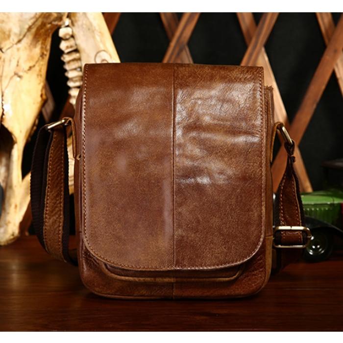 Vintage Fashion Men Messenger Bag 100% Genuine Leather Men black Shoulder Crossbody Bag Brand Design Man Bag Brown messenger bag maxdo vintage brown 100