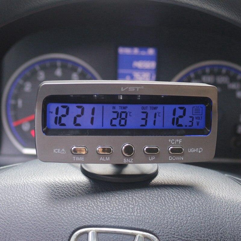 Auto Thermometer Voltmeter Auto Indoor Outdoor Termometro Temperatur Spannung Meter Wecker VST7045V Blau Orange Hintergrundbeleuchtung
