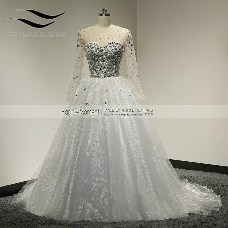 100% Foto Tanah Kristal Pakaian Pengantin Muslim Arab Pakaian Perkahwinan Puteri 2018 Long Sleeves vestidos de noiva 2015 (SLW-082)