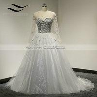 100% Real Photos Crystal Bridal Dress Muslim Arabic Princess Wedding Dresses 2018 Long Sleeves vestidos de noiva 2015 (SLW 082)