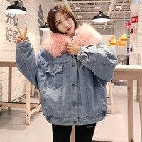 women fashion loose padded denim jackets parkas winter coat