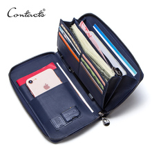 CONTACT'S Cow Leather Men's Wallet With Passport Holder Cuzd