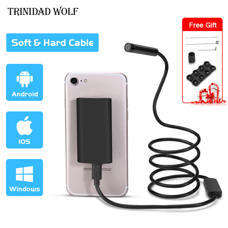 TRINIDAD WOLF WIFI Endoscope Camera Hard Soft Cable Inspection Camera 8mm 1M IOS USB Endoscope Borescope For Iphone 7 6 8 5 X