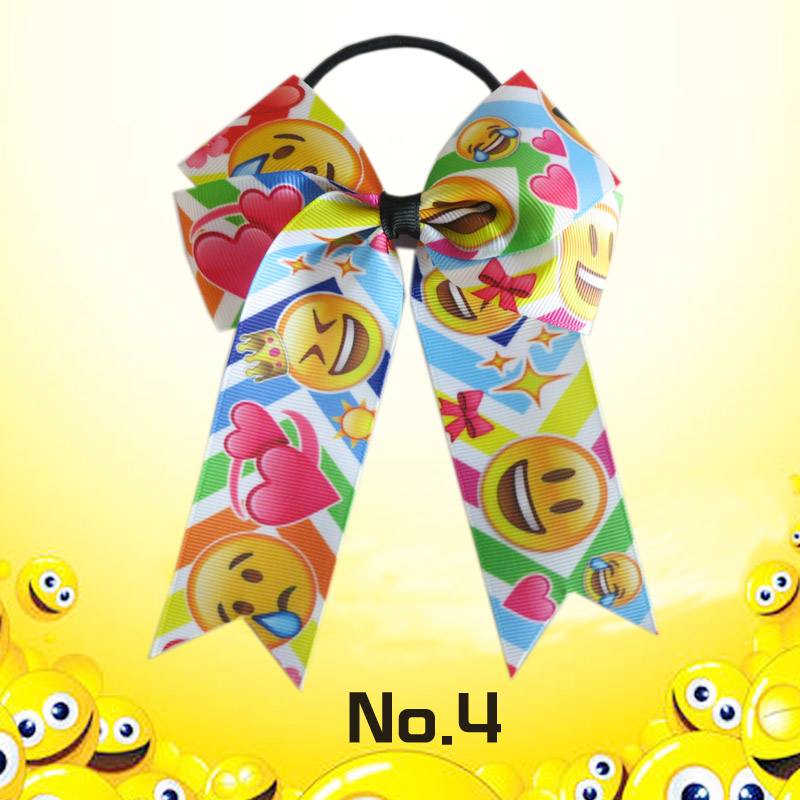 20 BLESSING Happy Girl Hair Accessories smiling face Long Tail 4.5 Cheer Leader Bow Elastic
