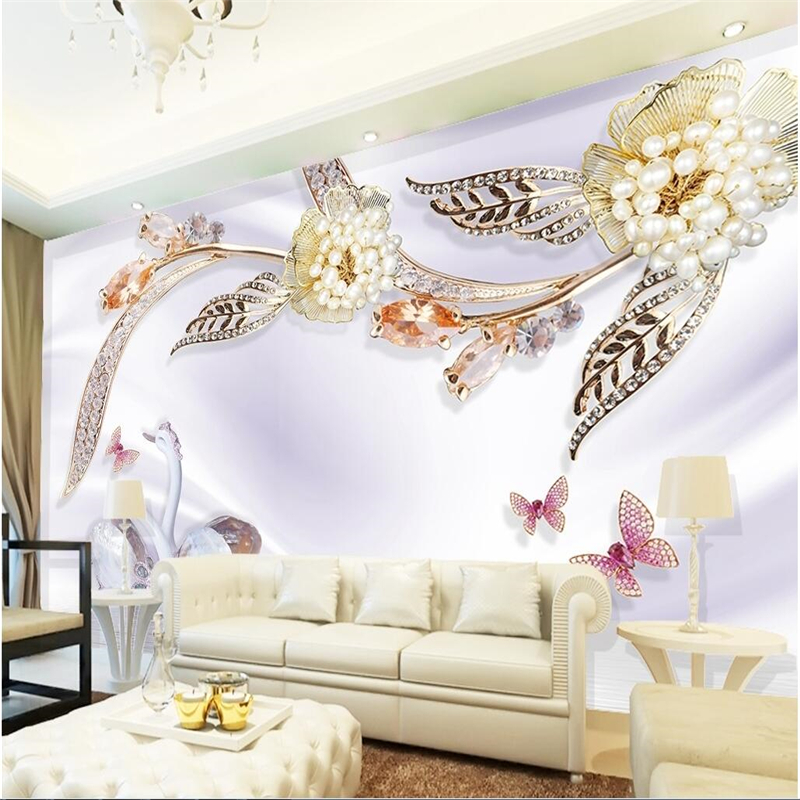 Large 3d European Pearl And Rose Jewelry Tv Background: Beibehang Customize Any Size Wallpaper Fresco Photo Luxury