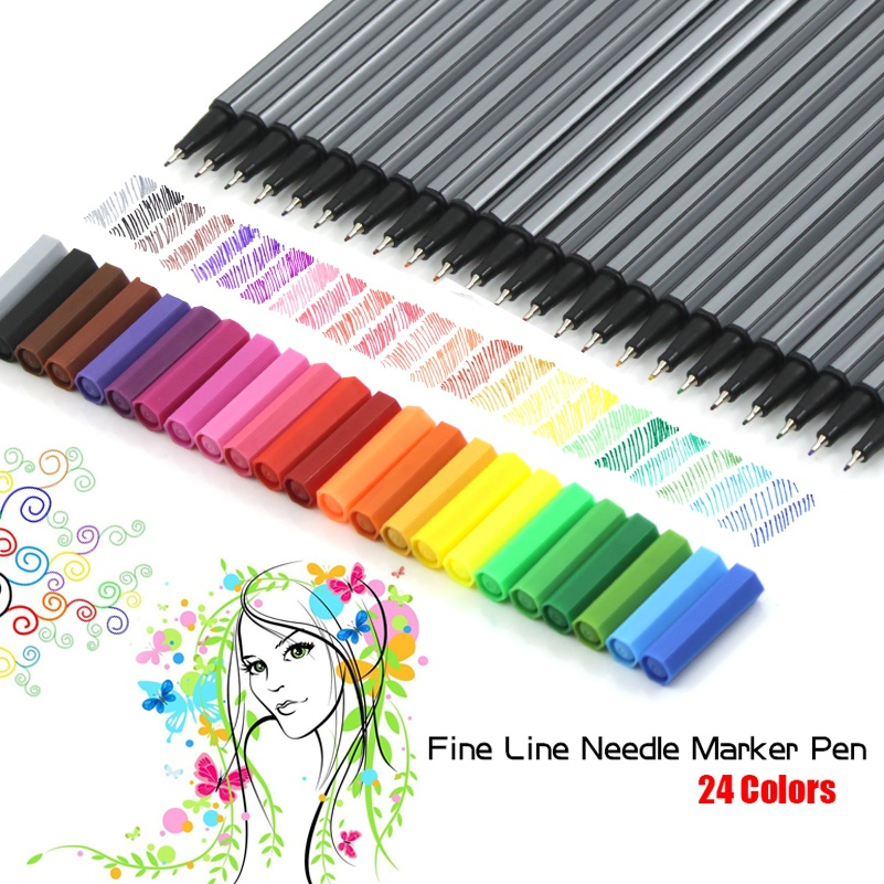 24 Colors 0.4mm Fine Tip Art Marker Pen Superfine Fineliner Sketch Art Supplies for Animation Manga Draw(not Stabilo Point 88) genuine 20colors stabilo point 88 micron liner pen sketch marker set 0 4mm ultra fine micron pen draw liners art supplies 8803