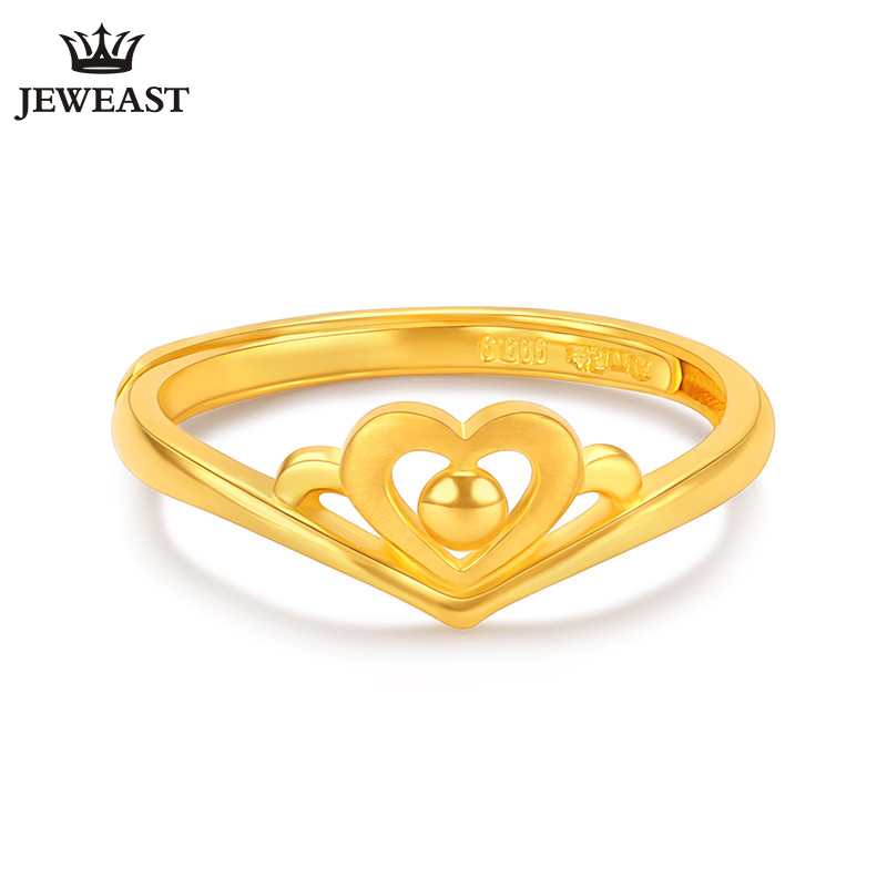 24K Pure Gold Ring Real AU 999 Solid Gold Rings Beautiful Heart Crown Romantic Upscale Trendy Classic Jewelry Hot Sell New 201824K Pure Gold Ring Real AU 999 Solid Gold Rings Beautiful Heart Crown Romantic Upscale Trendy Classic Jewelry Hot Sell New 2018