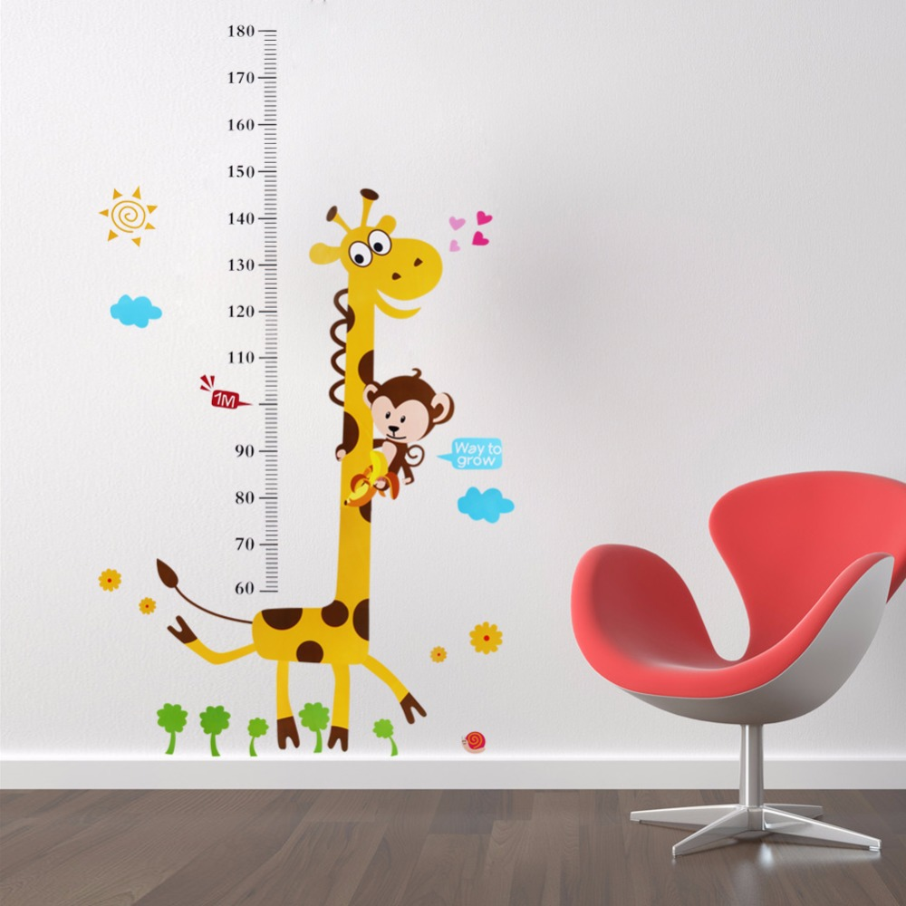 Kids height chart wall sticker home decor cartoon giraffe height kids height chart wall sticker home decor cartoon giraffe height ruler home decoration room wall art sticker wallpaper poster in wall stickers from home amipublicfo Gallery