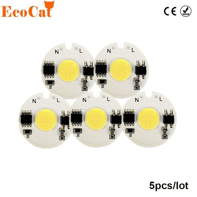 5PCS LED COB Chip Light 3W 5W 7W 9W 10W 220V 230V Input Smart IC Cold White Warm White DIY For LED Spotlight Flood