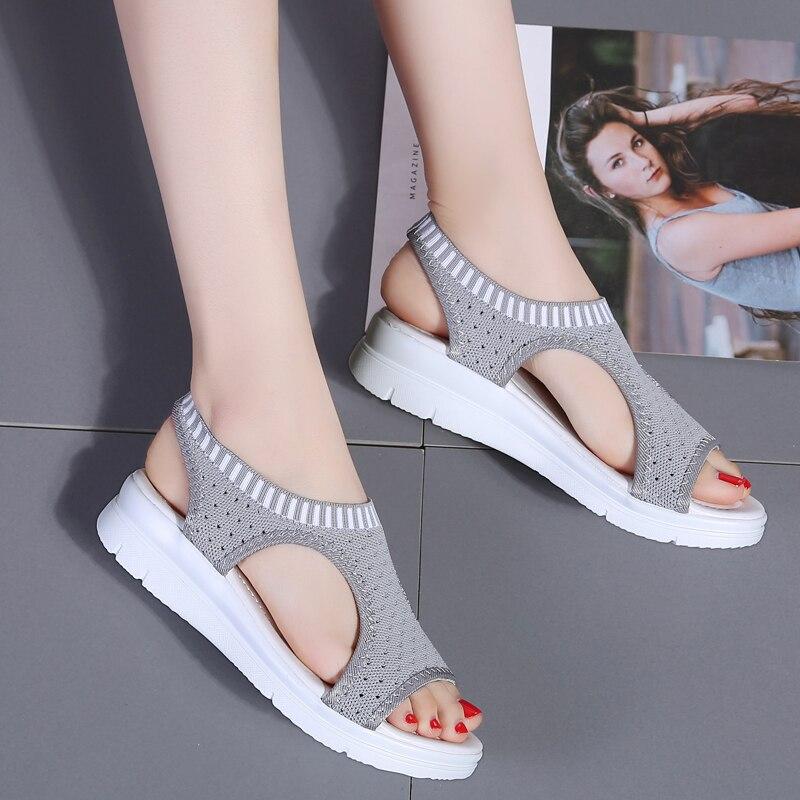 HTB18MSkOVzqK1RjSZFoq6zfcXXaQ Plus size 35-44 Women Sandals Female Shoes Woman Summer Wedge Comfortable Sandals Ladies Slip-on Flat Sandals Women Sandalias