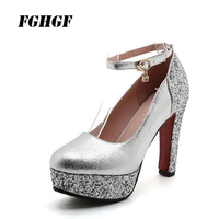 White Ultra High Heel Waterproof Platform Women Shoes Gold Bride Shoes Sequins Wedding Shoes Banquet Dress Princess Shoes 43