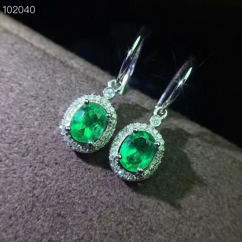 [MeiBaPJ]Natural Columbia Emerald Gemstone Drop Earrings Real 925 Silver Ellipse Earrings Fine Charm Jewelry For Women(China)